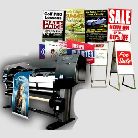 Image of a display of sign prints, Printing Service in LA, Perfect Image Printing