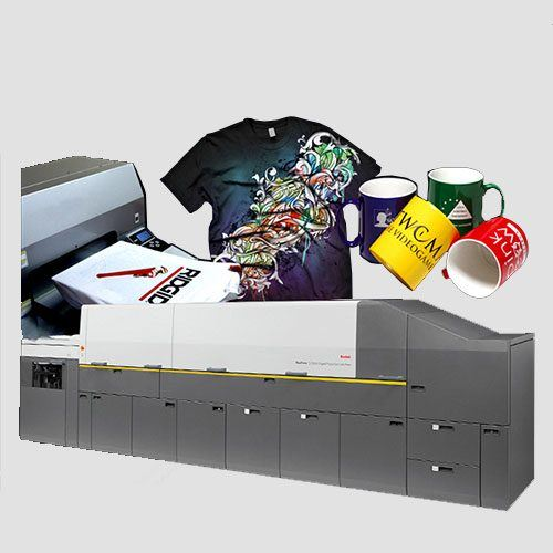 Image of a display of T-shirt&mugs prints, T-Shirt & Mug , Perfect Image Printing