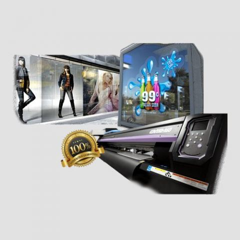 Image of window graphics display including printer, Window Graphics, Perfect Image Printing